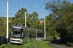 Kurz hinter dem Neunerplatz legt sich Wagen 402 auf der Fahrt in die Zellerau in die Kurve (Frederik Buchleitner) Tags: helsinki wsb tram streetcar artic würzburg 402 hkl trambahn linie4 transtech strasenbahn würzburgerstrasenbahngmbh würzburgerstrasenbahn