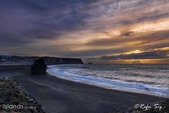 Black beach in the twilight
