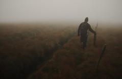 Rifle range boundary (Rob Hurson) Tags: autumn ireland cloud mist wet rain fog pentax hiking hills murky neolithic lowvisibility k30 seefingan pentax1855f3556 pentaxda1855f3556wr pentaxk30 dublinwicklowborder