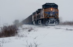 UP  CHESTER  SUB. WAITING ON ICG SIGNAL , COLUMBIA , ILLINOIS . JAN 2014 (railbar2014) Tags: railroad waiting windy blowing freeze rails snowing stayhome