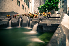 Cheung Kong (Phillies182) Tags: china longexposure bridge building water architecture hongkong waterfall asia financialdistrict citibank hongkongisland bankofchina gardenroad cheungkongcenter hongkongpic