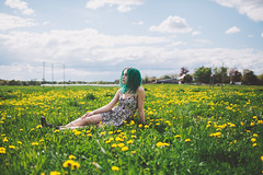 Daydream (Savannah Daras) Tags: flowers summer portrait sky selfportrait floral girl field grass sunshine yellow youth clouds relax spring warm dress bright free curls sunny pale freckles curlyhair carefree dandelions turqoise greenhair