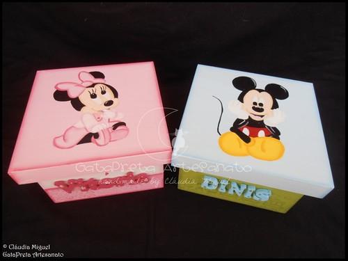 """Caixas de recordações de bebé """"Minnie Bebé"""" e """"Cool Mickey"""""""