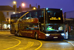 Twilight Gold (The return of the spiceymexrice!) Tags: nightphotography autumn london plymouth devon g6 stagecoach spotmetering 50307 bretonsidebusstation astromega nikon1685vr nikond7000 vanhooltd927 megabusgold sf13fml luxerytravel