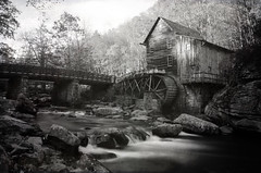 Glade Creek Grist Mill 3 (Christopher Wallace) Tags: statepark park longexposure autumn trees blackandwhite bw white black mountains west heritage history fall mill nature leaves digital creek river season landscape outdoors virginia waterfall nikon stream long exposure state herbst culture wv westvirginia babcock 18200 grist gladecreek babcockstatepark greatoutdoors 18200mm neutraldensity 18200mmvr nd110 d7000 nikond7000