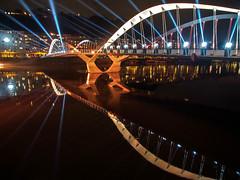 LYON - Inauguration du pont Maurice Schumann sur la Sane. (Gilles Daligand) Tags: lighting bridge france night lyon maurice ceremony illumination pont opening nuit inauguration inaugural schumann sane vaise