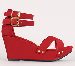 "cross cross ankle straps open toe wedge sandal red • <a style=""font-size:0.8em;"" href=""http://www.flickr.com/photos/64360322@N06/15725787261/"" target=""_blank"">View on Flickr</a>"