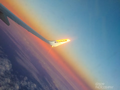Week 45 - Sunset (Ashey1209) Tags: blue sunset red sky plane canon flying wing 5d ryanair