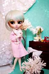 Bath time (glitteringcastle) Tags: pink blue flower green bathroom bath doll dolls turquoise wig bathtub pullip custom pullips obitsu obtisu