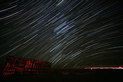 Startrail in New Mexico (CaptDanger) Tags: newmexico night stars nighttime nightsky nm atnight clearsky startrails americansouthwest noclouds southwesternus newmexicoskies nmskies sigma1530 starsinthesky starsatnight newmexicolandscapes startrailsexe canon5dmarkiii barninthedark