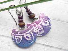 Purple Batik Half Moon Earrings (WiredOrchid) Tags: blue abstract ink design pattern purple magenta clay earrings beaded batik polymer