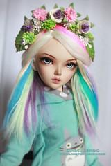 Pastel rainbow (Kimirra) Tags: rainbow chloe mohair bjd fairyland abjd colorfulwig colorfulhair minifee dollwig angorawig kagamidesign