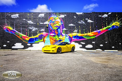 Monicas Vette with Rainbow Woman Mural in HDR Full mural view copy (RoryMad Studios) Tags: hdr corvette chevrolet yellow murals shineproject shine stpetersburg florida