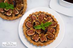 Pistachio and fig tart - pistachio pte sucre, pistachio-orange frangipane, California black mission figs glazed with black pepper honey (thewanderingeater) Tags: californiafigs figs tart