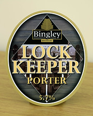 Bingley Brewery pump clip (Basil Parylo) Tags: bingley brewery pump clip pumpclip five rise locks leeds liverpool canal real ale pub keeper beer porter