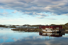 They reaped the silver corn (OR_U) Tags: 2016 oru norway lofoten boat ship fishermen bridges island sea ocean reflection calmness sky clouds landscape