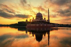 Putrajaya Mosque Sunrise (Laidm) Tags: photo wallpaper sunset sunrise landscape putrajaya beautiful water lake sky sun clouds golden ray light