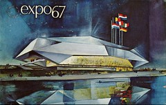 European Community Pavilion, Expo '67, Montreal, Quebec (SwellMap) Tags: postcard vintage retro pc chrome 50s 60s sixties fifties roadside midcentury populuxe atomicage nostalgia americana advertising coldwar suburbia consumer babyboomer kitsch spaceage design style googie architecture neon night evening dark street marquee