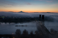 Barging through (RaminN) Tags: barge sunrise mounthood sky fog foggy river willametteriver bridge hawthornebridge morning