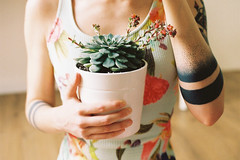 Plant Therapy. (Hello i'm Wild !) Tags: analog film 35mm canonae1 colors bokeh dof light nature succulent selfportrait girl mirror ink tattoos skin kodakportra400