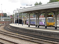 3 Car Pacer DMU Unit 144018 Departs Sheffield. (ManOfYorkshire) Tags: 144018 class144 dmu unit 3car pacer railway train station sheffield departs departing east trains canopy old period restored arrivarailnorth northern northerntrains alexander