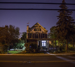 365-346 ( estatik ) Tags: 365346 365 346 october252016 oct 102516 tues tuesday night long exposure panorama lambertville nj new jersey hunterdon county usa house sky stars power lines trees road street main north