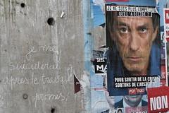 Bondy 93 seine st denis  2011 (patrickdeby) Tags: chmage suicide telecom emploi affiche craie slogan pcf campagne politique lections