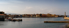 Panorama of Chania Harbour, Chania, Crete, Greece (john houv) Tags: chania crete mediterranean oldharbour oldharbor lighthouse reflection