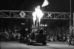 Legitimate Fire for the Fire and Ice Parade (LostOne1000) Tags: heat cedarrapids people fireandice railroadcrossing float city night hotairballoon cold blackwhite iowa parade fire unitedstates downtown us holidaydelightparade