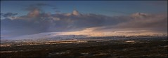 Winter Valley Farm (Firery Broome) Tags: landscape skyscape skyporn bluesky iceland snow snowcovered mountains farm winter winterscape bigsky sunrise earlymorning nature naturelovers travel worldtravel europe europe2011 panasonic gh1 panorama photoshop nik viveza colorefexpro blue purple goldwhite orange sliderssunday 365