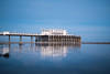 Worthing pier at low tide (lomokev) Tags: file:name=160505nx14699 ground ratseyeview low groundlevel samsungnx1 nx1 pier worthingpier sand reflection architecture