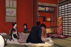 Warm under the kotatsu. (BlueLotusOkiya) Tags: bluelotusokiya secondlife geisha misedashi hinako second life blue lotus okiya pontocho