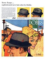 1959 Dobbs Town Taupe, illustration by Bob Peak (Tom Simpson) Tags: 1959 1950s dobbs hat fedora vintage ad ads advertising advertisement vintagead vintageads bobpeak