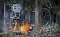 Bird of Prey (CozzD) Tags: atst scout transport star wars lego mini figure return jedi endor forest episode vi ewoks imperial diorama battle paploo chief chirpa wicket