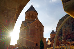 Sunrays illuminating Noravank monastery