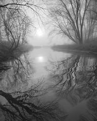 Sunrise, Redstone Creek (Peter Bowers) Tags: canada sunrise creek redstone ontario river mist fog reflection