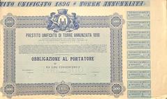 PRESTITO UNIFICATO DI TORRE ANNUNZIATA 1896 (scripofilia) Tags: 1896 annunziata obbligazioni prestito torre torreannunziata unificato
