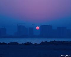 First autumn sunrise     (Ahmed Albaqer  ) Tags: autumn arabiangulf sunrise bahrain seascape firstmorning ahmedalbaqer amwaj amwajisland nikon d750 dair delmon orange