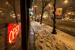 Chi120416 (GDMetzler) Tags: chicago snow street reflections nikond610 illinois night footprints signs winter streetlights cityscape