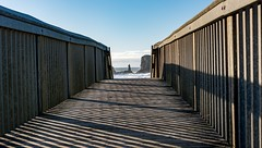 Stairway to Ocean (KnightedAirs) Tags: nikon d5200 nikkor 35mm afs bandon oregon beach ocean sand polarizer sun sky clouds blue wood stairs frame shadow