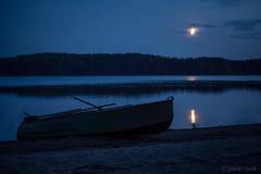 Night on the island (pavel iovik) Tags: paveliovik iovik moon moonrise boat water silence night lake kenozero  waterside coast lunar path lunarpath