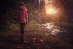 upstream (Chrisnaton) Tags: autumn winter hiking nature river forest walking girl sundown sunset eveningmood eveningcolors eveningsky journey alongtheriver path riverside endlessriver creekbank
