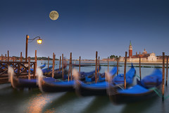 Gondolas in the night (Silviu Gheorghe) Tags: venice venezia gondolas moon cityscape night italy