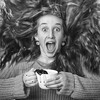 Coffee! (mckenziemedia) Tags: coffee cup cappuccino woman girl hair caffeine spill liquid beverage morning blackandwhite cafe coffeeshop barista face smile hands sweater excited square