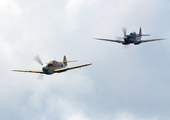 Dogfight (Bernie Condon) Tags: plane flying fighter display aircraft military airshow ww2 spitfire mustang rafa dogfight raf warplane shoreham p51 luftwaffe me109 supermarine usaaf