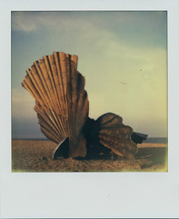 Scallop V (Pictures from the Ghost Garden) Tags: sculpture color colour slr art film beach vintage project polaroid sx70 coast suffolk seaside britten coastal filter tip 600 integral instant benjamin aldeburgh instantcamera folding density maggi composers impossible ip neutral polaroidsx70 onestep instantfilm foldingcameras vintagecameras nd4 hambling impossibleproject