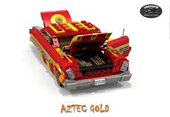 Linotopia - Aztec Gold - 1961 Dodge Polara (lego911) Tags: auto birthday usa classic hardtop car america gold model lego aztec render 25 dodge 1960s chrysler 300 7th coupe challenge lino 1961 cad lugnuts povra