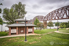 Downtown Henderson, KY (AP Imagery) Tags: bridge river downtown kentucky ky flags henderson ohioriver