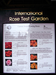 "International Rose Test Garden award winning roses sign • <a style=""font-size:0.8em;"" href=""http://www.flickr.com/photos/34843984@N07/15359896200/"" target=""_blank"">View on Flickr</a>"