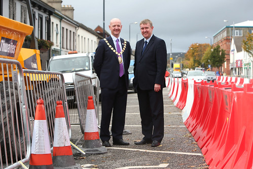 Social Development Minister Mervyn Storey MLA with Mayor of Ards Borough Council, Councillor Philip Smith during a visit to Newtownards to announce contractors FP McCann who will undertake £10m public realm works for Newtownards, Comber and Donaghadee